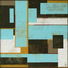 High Rise Aqua - Incl Frame, Painting, Acrylic on Canvas