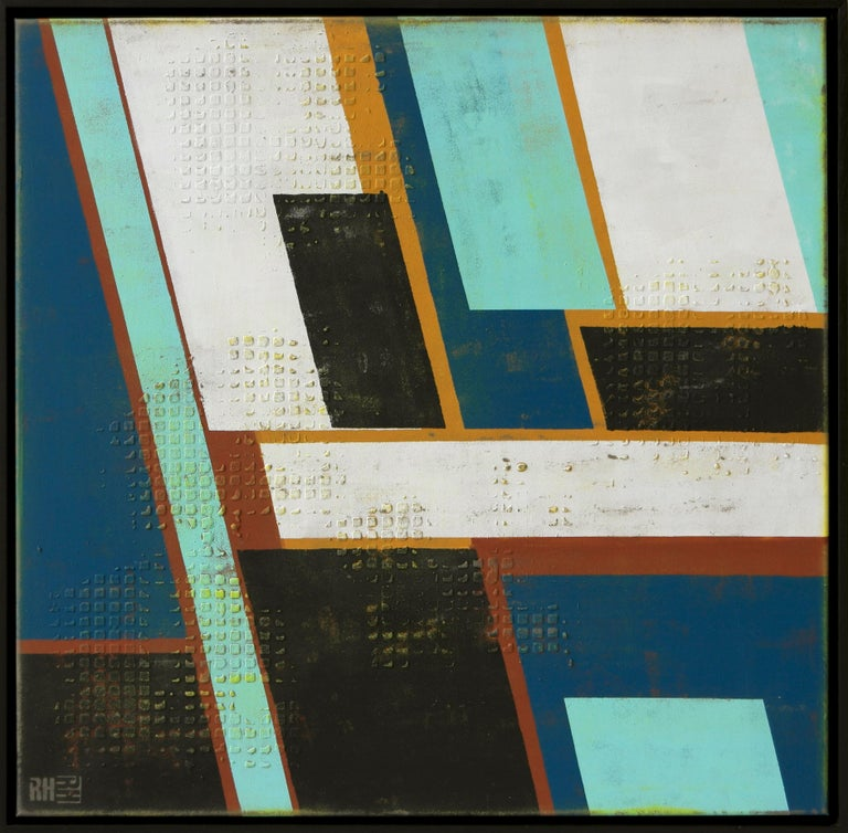 One of Ronald's 2019 new art series. Contrasting colors in linear shapes, High Rise is inspired by the rise of vertical cities.  High Rise Mint is painted on a 3D canvas, and comes with a black floating frame (made of wood).  :: Painting ::