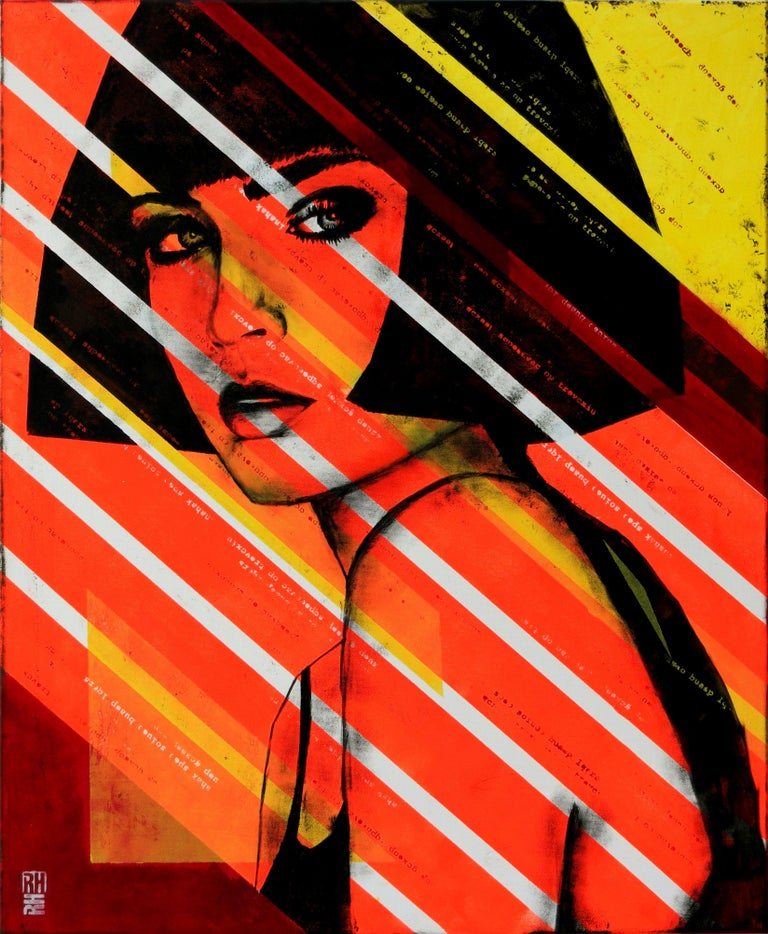 Meet 'Lady Orange'. Inspired by the Pop Art movement and the work of Andy Warhol, this colorful painting with neon orange will fire up your home. With a background in graphic design, like to play with form and typography in my paintings. 'Pop Art'