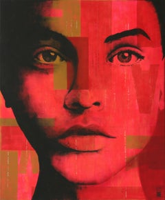 Neon Squares - Pop Art Girl, Painting, Acrylic on Canvas