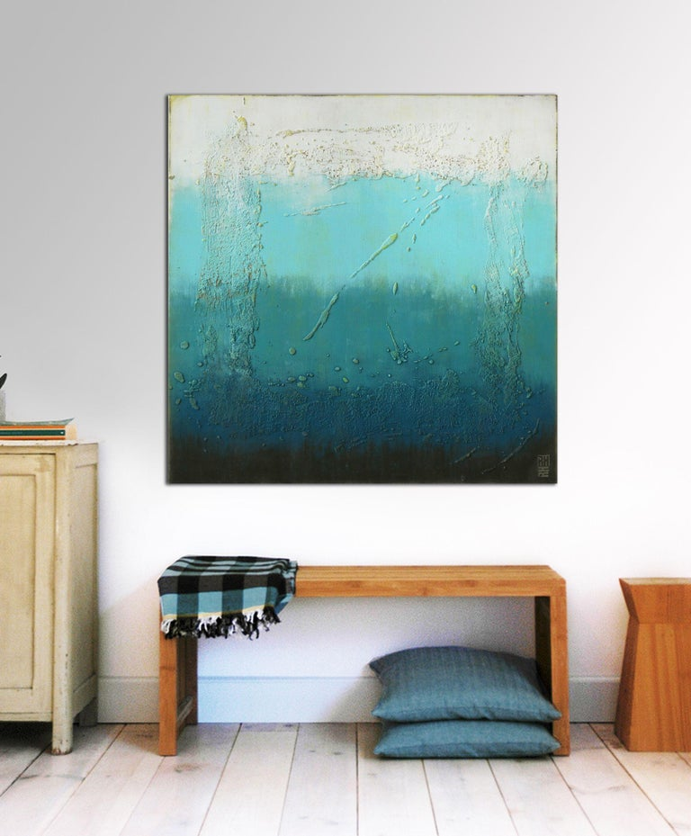 Oceanic Square, Painting, Acrylic on Canvas - Blue Abstract Painting by Ronald Hunter
