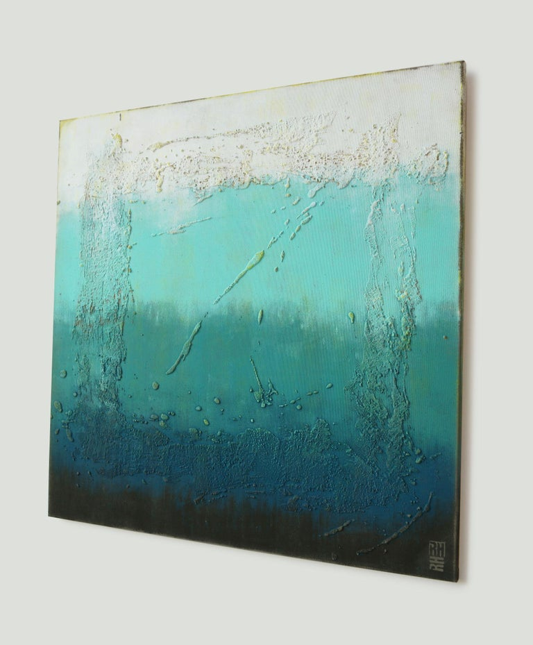 White gradually transitions into deep blue shades, evoking a sense of depth, of being submerged. Layers of acrylic paint and texture give the painting an interesting twist.     You will receive the artwork