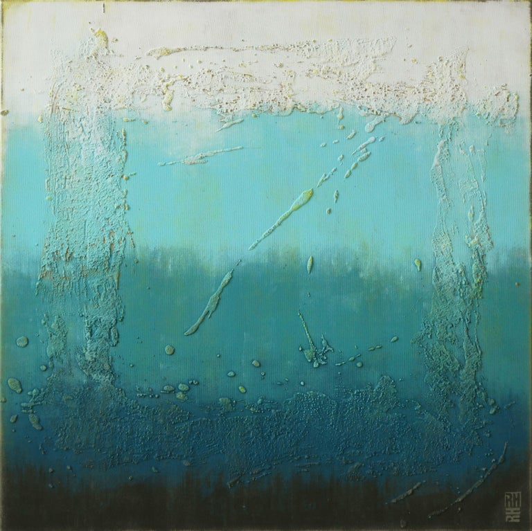 Ronald Hunter Abstract Painting - Oceanic Square, Painting, Acrylic on Canvas
