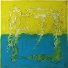 Once in Yellow & Blue - Incl Frame, Painting, Acrylic on Canvas