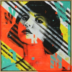 Striped Pop Art Girl - Incl. Frame, Painting, Acrylic on Canvas