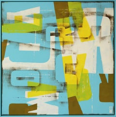 Typopop in Blue - Incl Frame, Painting, Acrylic on Canvas