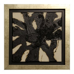 Black and White Impasto Gestural Abstract Mixed Media Painting