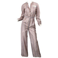 Ronald Kolodzie 1970s NWT Striped Wide Leg Vintage Cotton Blend 70s Jumpsuit