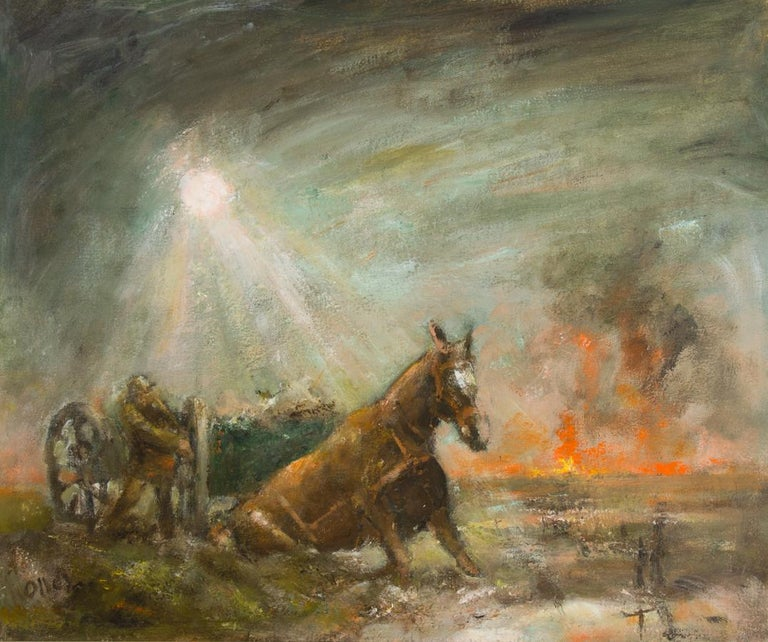 Ronald Olley (b.1923) - Signed & Framed c. 2000 Oil, Horses Slain in Mud - Beige Figurative Painting by Ronald Olley