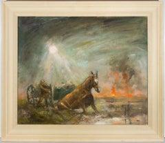 Ronald Olley (b.1923) - Signed & Framed c. 2000 Oil, Horses Slain in Mud