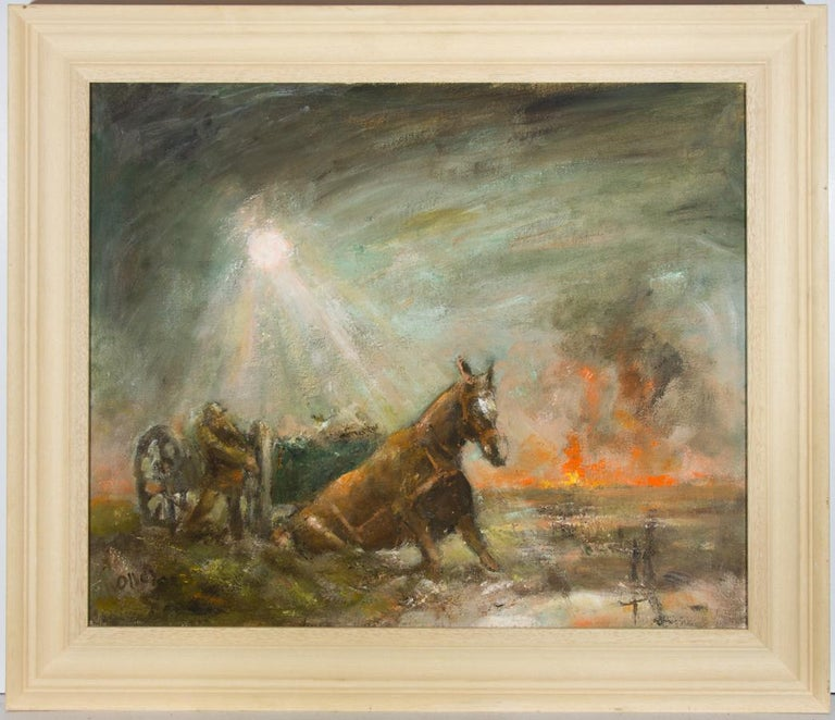 Ronald Olley (b.1923) - Signed & Framed c. 2000 Oil, Horses Slain in Mud - Painting by Ronald Olley