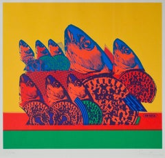 """Procession (Fish),"" Original Colorful Serigraph signed by Ronald Osiecki"