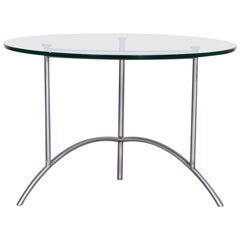Ronald Schmitt Designer Glass Coffee Table Silver Round