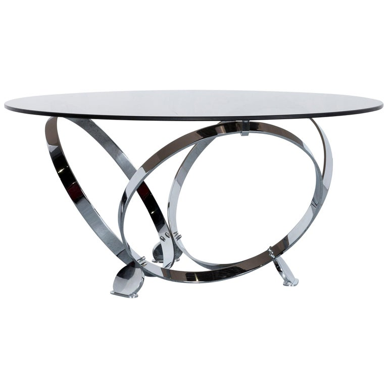 Ronald Schmitt Diamond Designer Glass Coffee Table Silver Round For