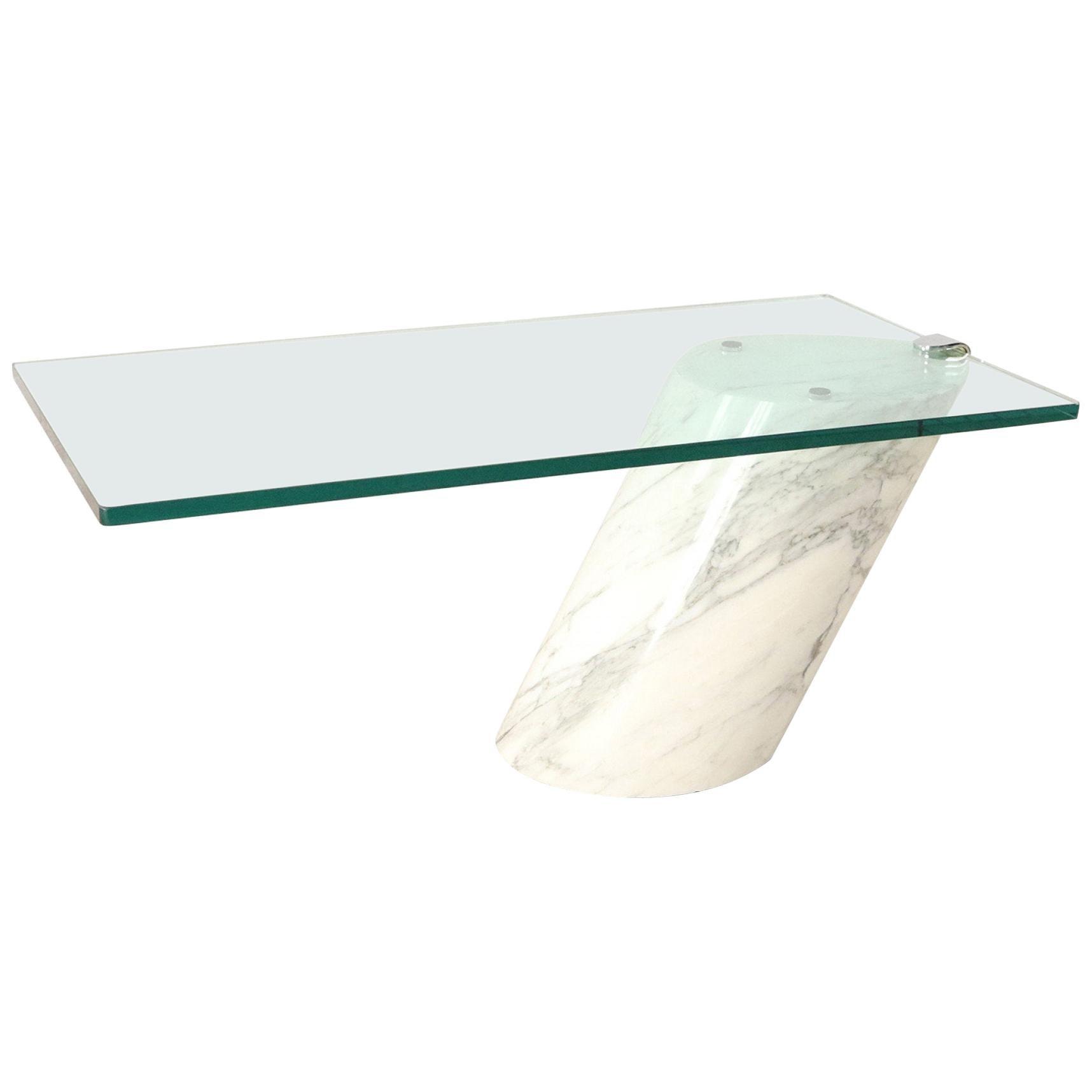 Ronald Schmitt for Brueton White Carrara Marble and Glass Coffee Table