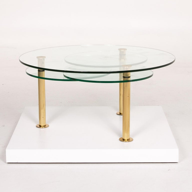 Ronald Schmitt Glass Coffee Table Gold Function Adjustable Table For Sale 4