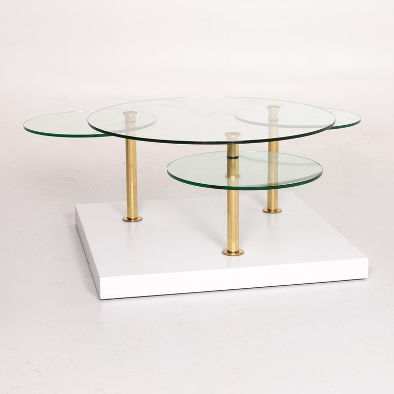 Modern Ronald Schmitt Glass Coffee Table Gold Function Adjustable Table For Sale