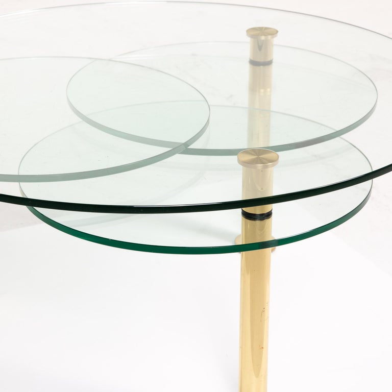 European Ronald Schmitt Glass Coffee Table Gold Function Adjustable Table For Sale