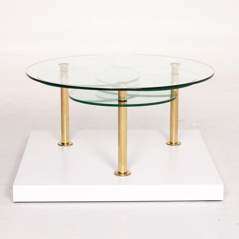 Contemporary Ronald Schmitt Glass Coffee Table Gold Function Adjustable Table For Sale