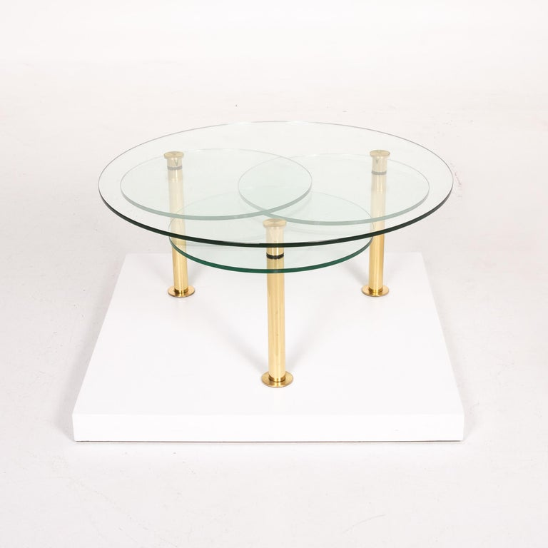 Ronald Schmitt Glass Coffee Table Gold Function Adjustable Table For Sale 1