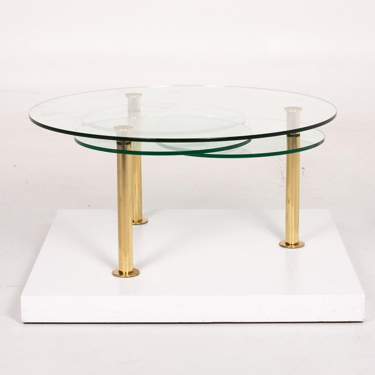 Ronald Schmitt Glass Coffee Table Gold Function Adjustable Table For Sale 2