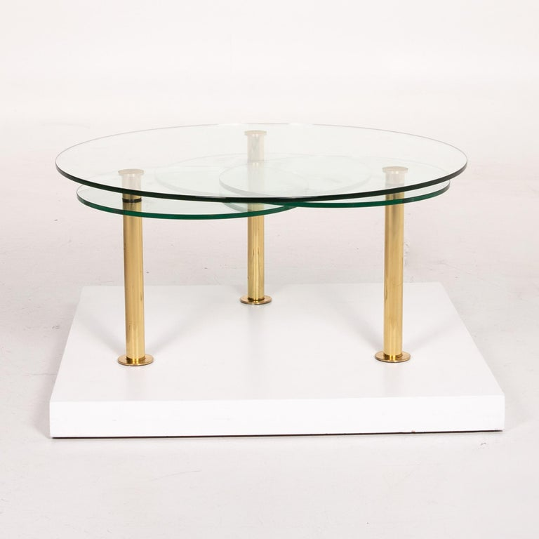 Ronald Schmitt Glass Coffee Table Gold Function Adjustable Table For Sale 3