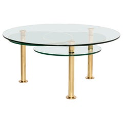 Ronald Schmitt Glass Coffee Table Gold Function Adjustable Table