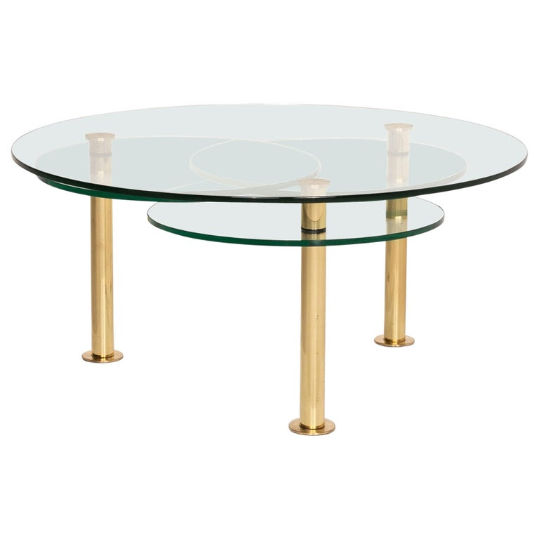 Ronald Schmitt Glass Coffee Table Gold Function Adjustable Table For Sale