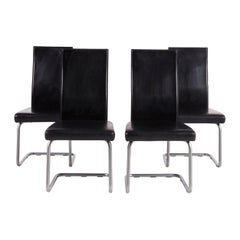 Ronald Schmitt Leather Chair Set Black 6 Cantilever Armchair