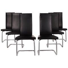 Ronald Schmitt Leather Chair Set Black, Set of 6