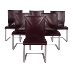 Ronald Schmitt Leather Chair Set Wine Red Set