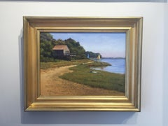'Beach House', Cape Cod Modern Impressionist Marine Oil Painting