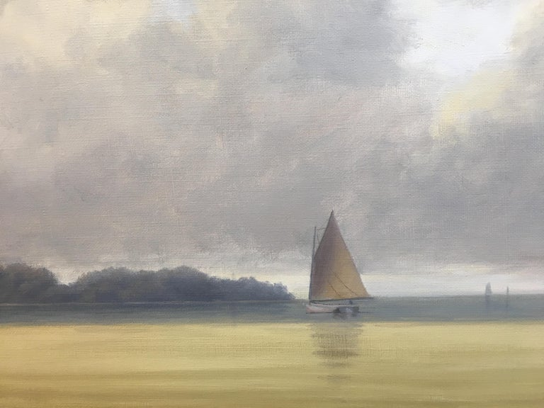 Cape Cod, seascape, summer, sail, boat, waves, water, ocean, white, aqua, blue, coastal, nautical, green, trees, nature, refresh, marine, marine art, sailboat, serene, tranquil, water scene, scenic, landscape, traditional, contemporary art, calm,