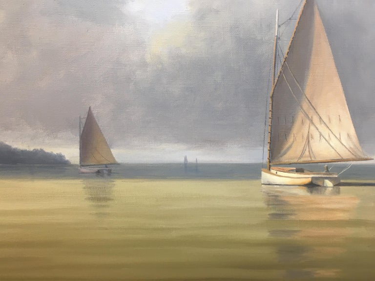 'Calm Before the Storm', Cape Cod Modern Impressionist Marine Oil Painting For Sale 1
