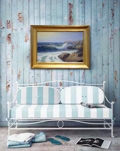 'Crashing Surf, Cape Cod Modern Impressionist Marine Oil Painting