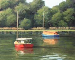 'Summer Colors', Cape Cod Sailboat Modern Impressionist Marine Oil Painting