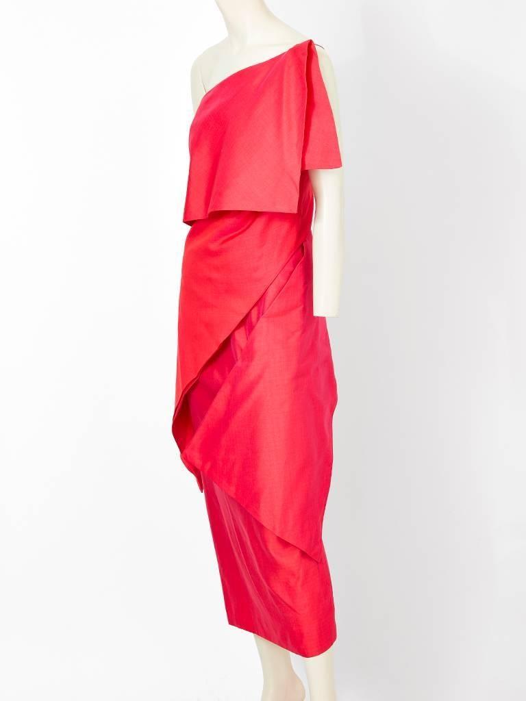 Ronaldus Shamask, red, silk blend, one shoulder midi dress having asymmetric horizontal panels creating an, origami