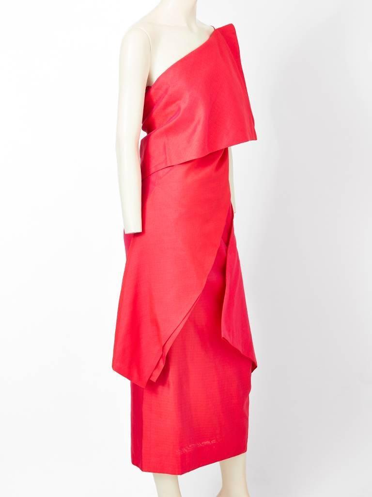 Red Ronaldus Shamask One Shoulder Dress For Sale