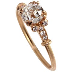 0.92 Carat Old Mind Cut Rose Gold Diamond Engagement Ring