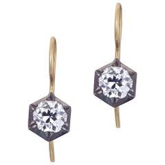 1.28 Carat Hex Cut Down Old Mine Diamond Earrings