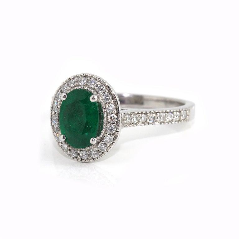 Women's 18 Karat White Gold Emerald and Diamond Ring For Sale