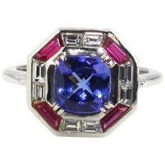 18 Karat White Gold Tanzanite Ruby and Diamond Cocktail Ring