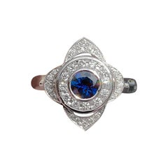 Blue Sapphire and Diamond Target Ring