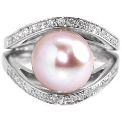Contemporary Pink Pearl and Diamond Ring