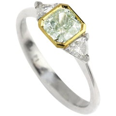 GIA Certified 0.77 Carat Green Diamond Engagement Ring