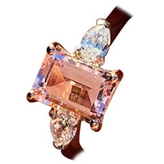 Platinum Rose Gold Morganite and Diamond Engagement Ring
