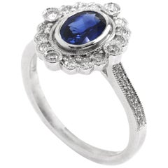 Sapphire and Diamond Vintage Inspired Engagement Ring