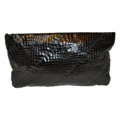 "Ronay Midnight-Black Snakeskin ""Spring-Top"" Clutch With Optional Shoulder Strap."