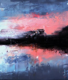 Evening on Crystal Lake, Abstract Oil Painting