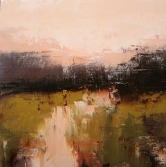 Warm Tones on Flatcreek, Abstract Oil Painting